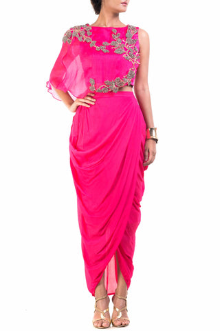 Fuchsia Pink Cape-Cropper With Dhoti Skirt Front