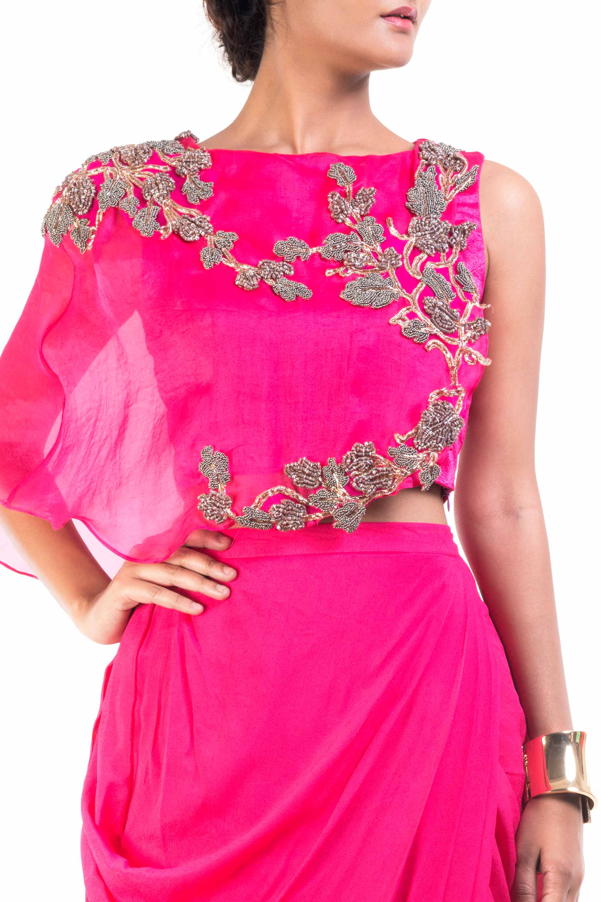 Fuchsia Pink Cape-Cropper With Dhoti Skirt Closeup
