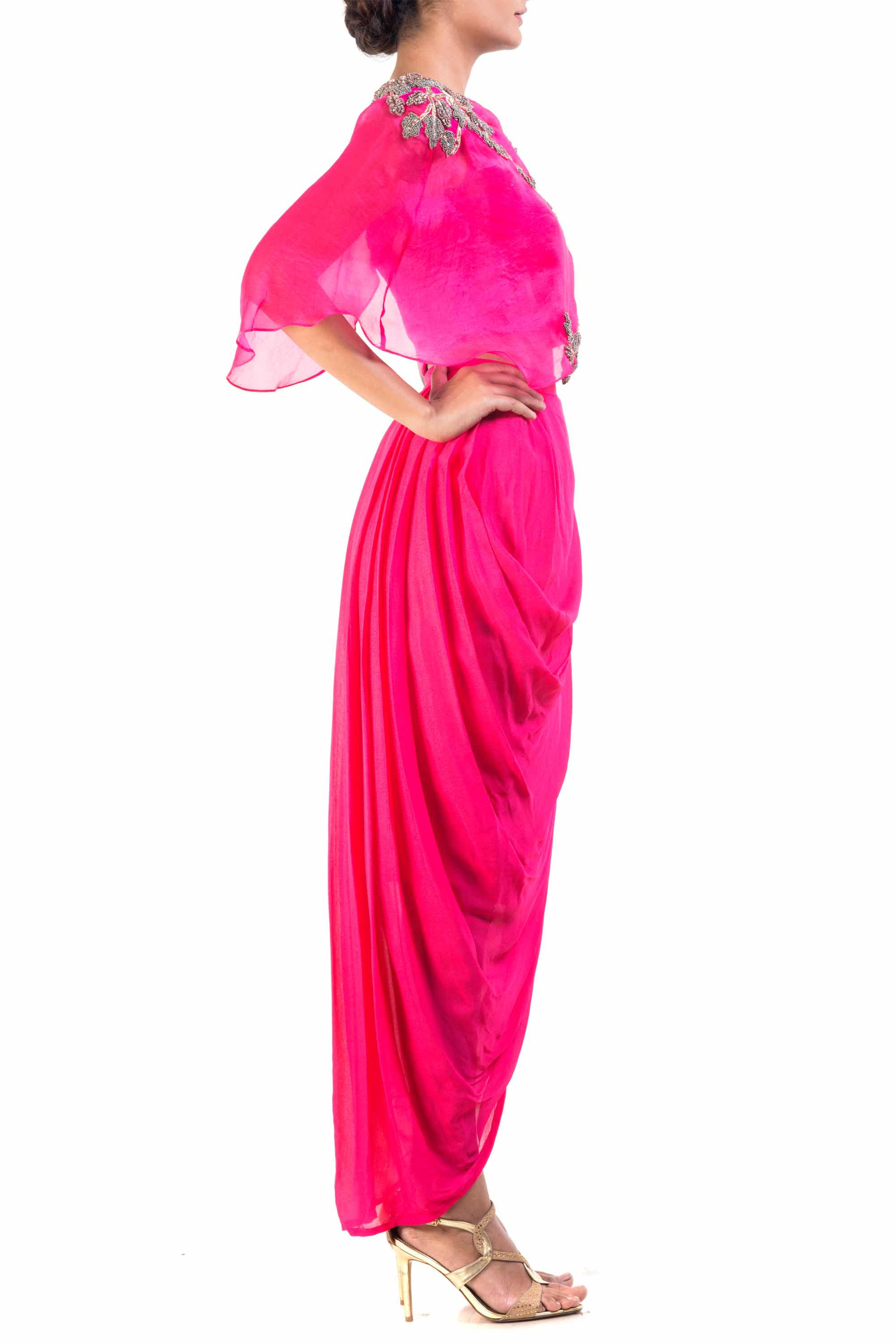 Fuchsia Pink Cape-Cropper With Dhoti Skirt Side