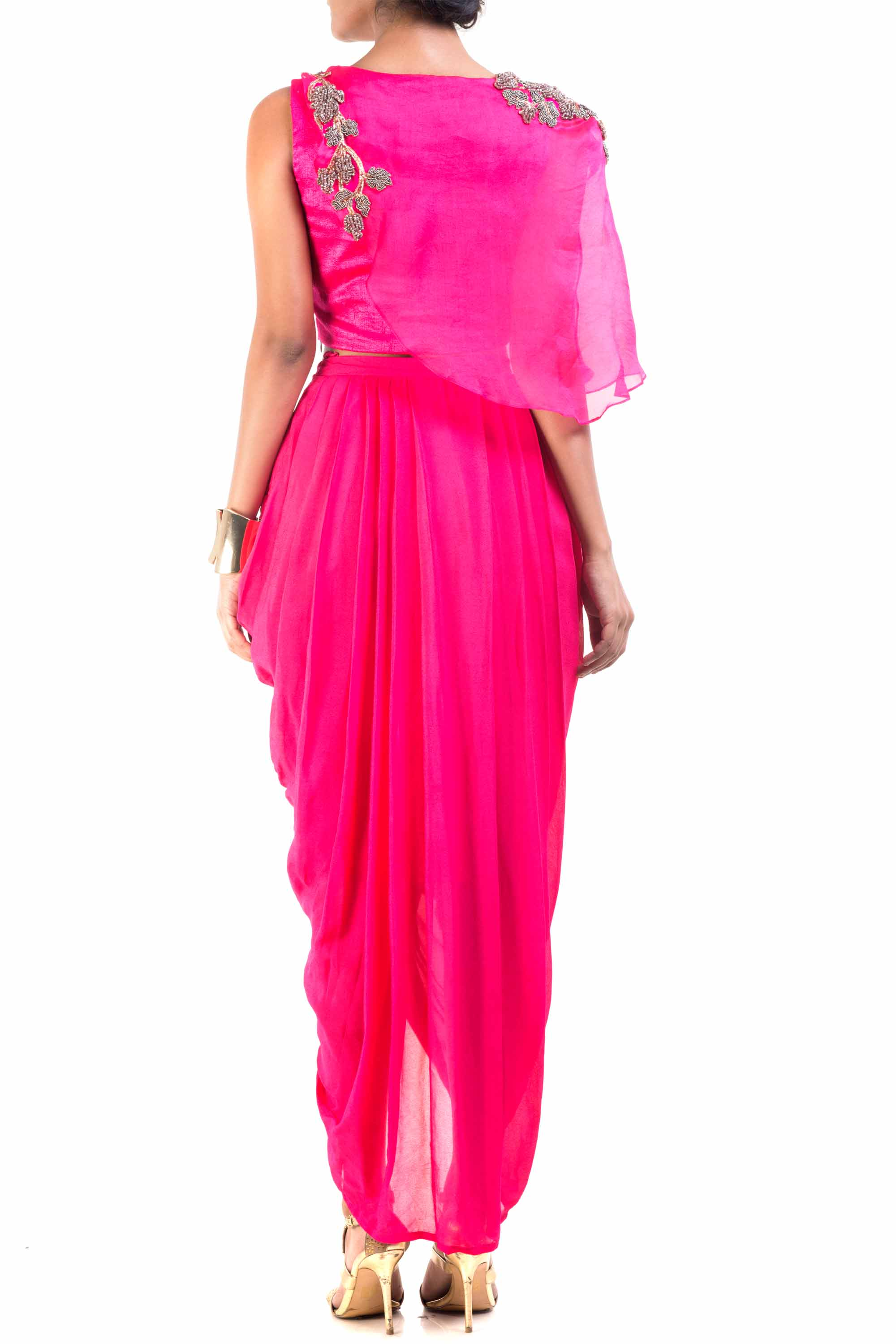 Fuchsia Pink Cape-Cropper With Dhoti Skirt Back