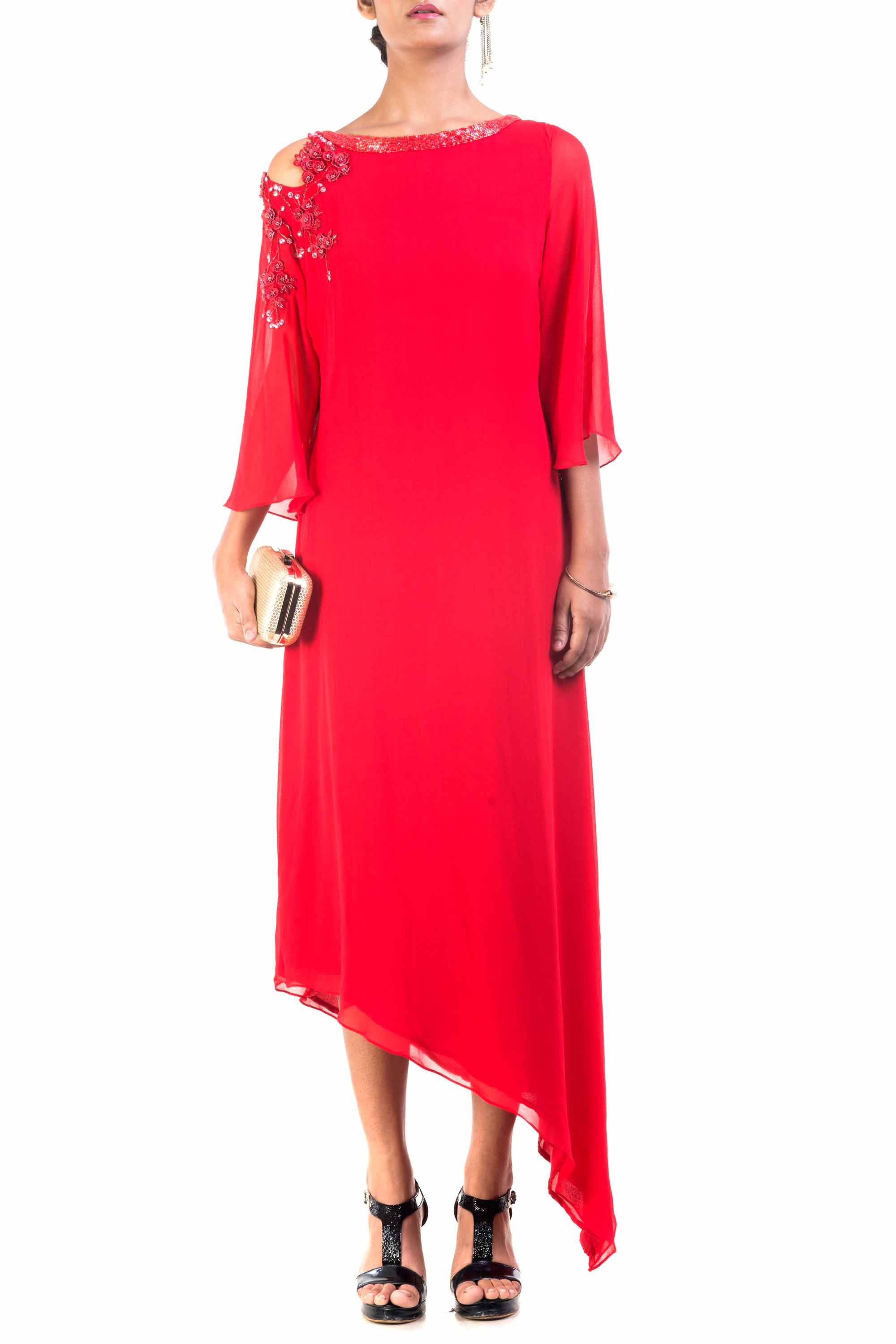 Red Cold Shoulder Asymmetrical Dress Front