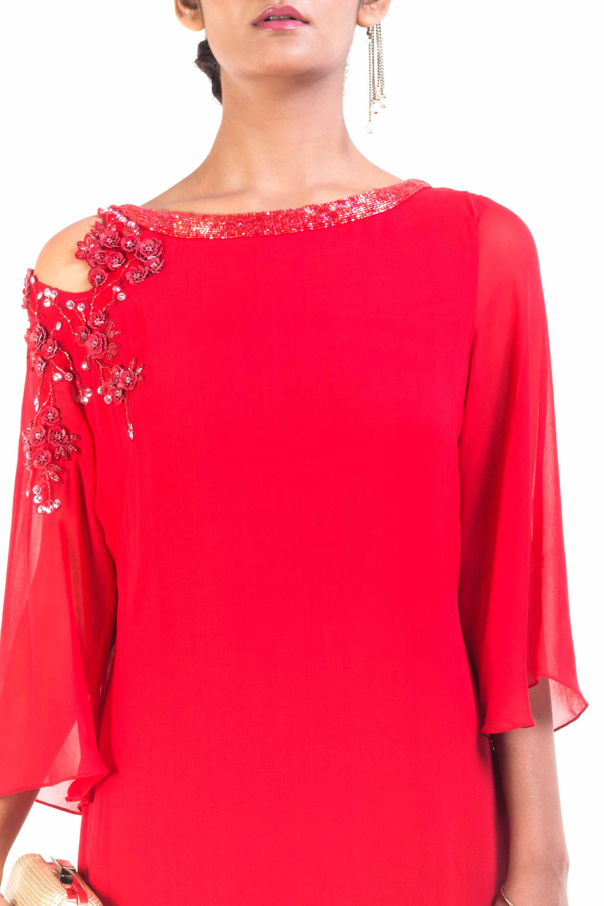 Red Cold Shoulder Asymmetrical Dress Closeup