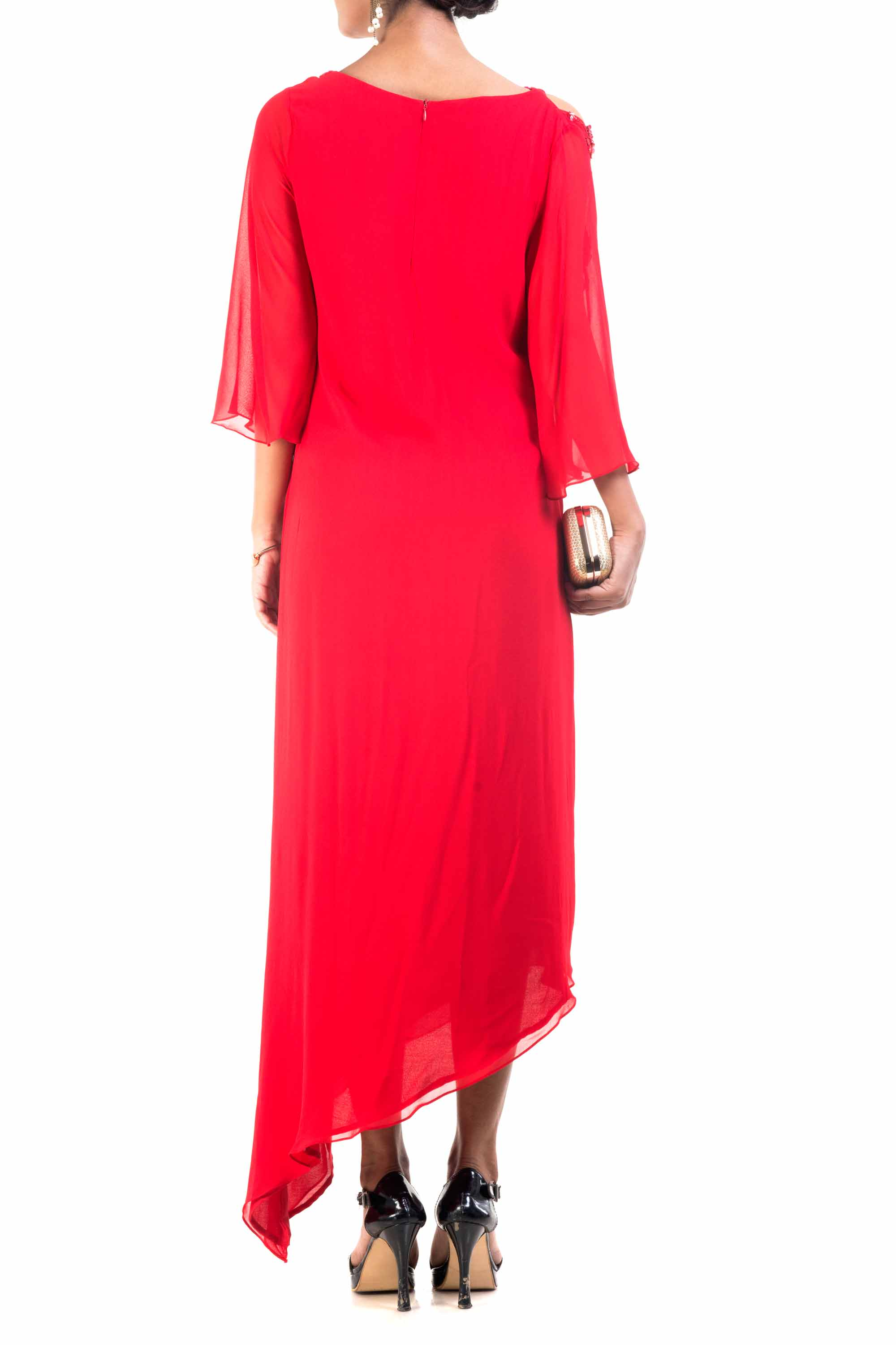 Red Cold Shoulder Asymmetrical Dress Back