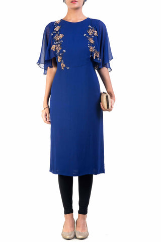 Cape Sleeves Tunic Blue