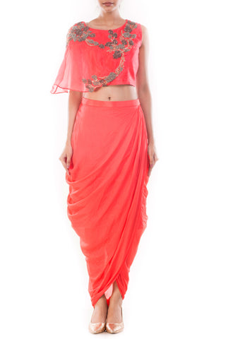 Rose Peach Crop Top & Draped Skirt Front