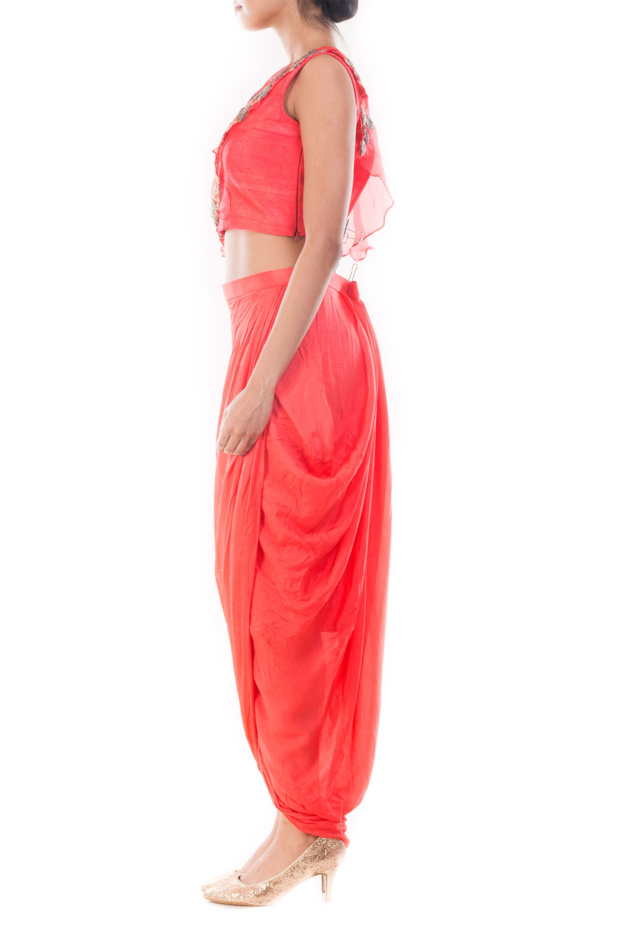 Rose Peach Crop Top & Draped Skirt Side