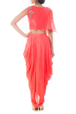 Rose Peach Crop Top & Draped Skirt