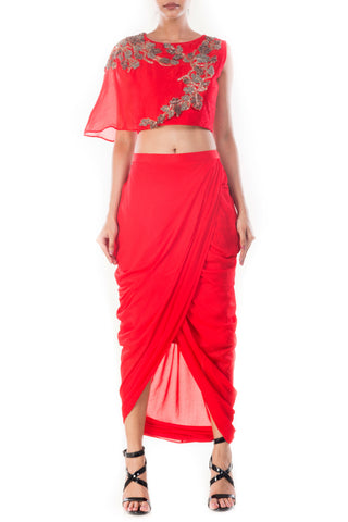 Crimson Crop Top & Draped Skirt Front Front