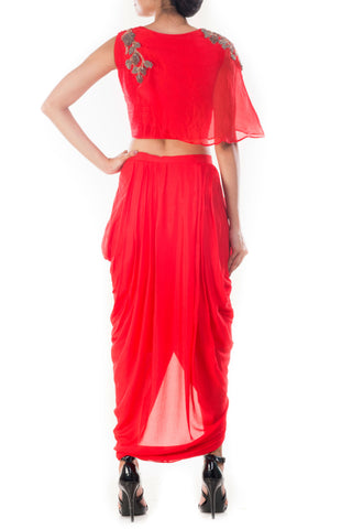 Crimson Crop Top & Draped Skirt Front