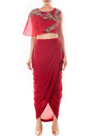 Wine Crop Top & Draped Skirt Front