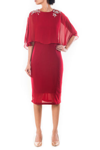 Wine Blue Flare Cape Dress Front