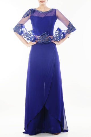 Sapphire Blue Cape Cropper & Layered Palazzo Set Front