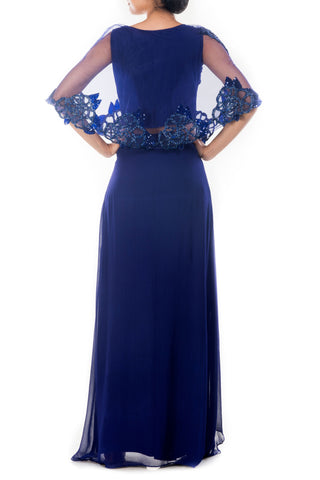 Sapphire Blue Cape Cropper & Layered Palazzo Set