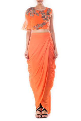 Tangerine Crop Top & Draped Skirt Front
