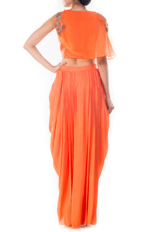 Tangerine Crop Top & Draped Skirt