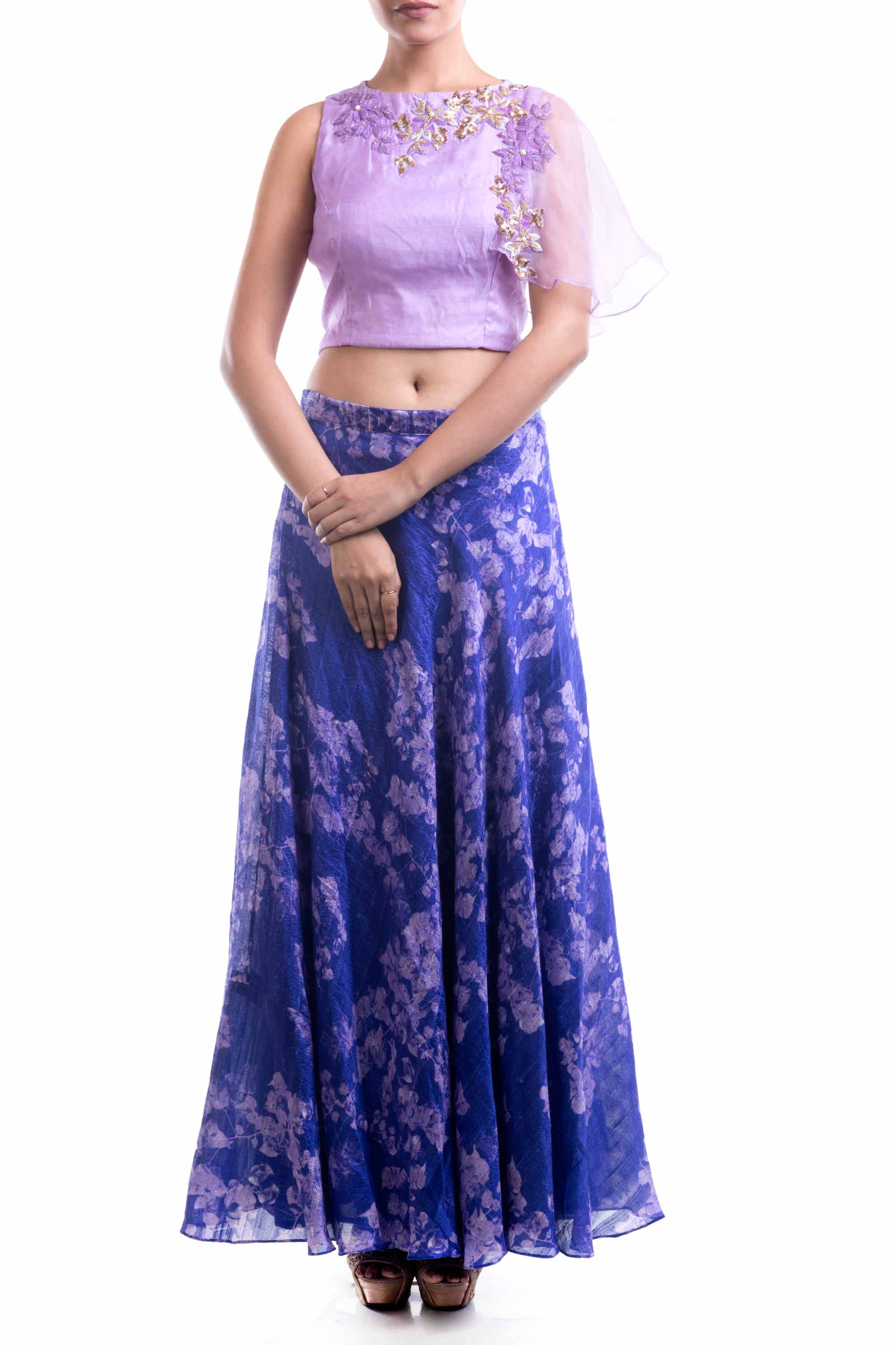 Lavender Embroidered Top & Printed Skirt Set Front