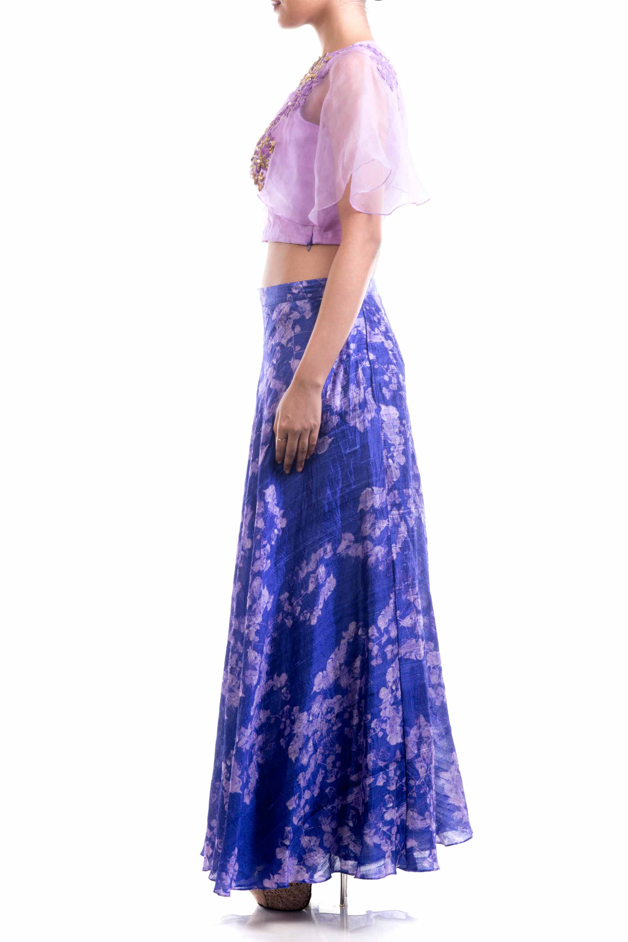 Lavender Embroidered Top & Printed Skirt Set Side