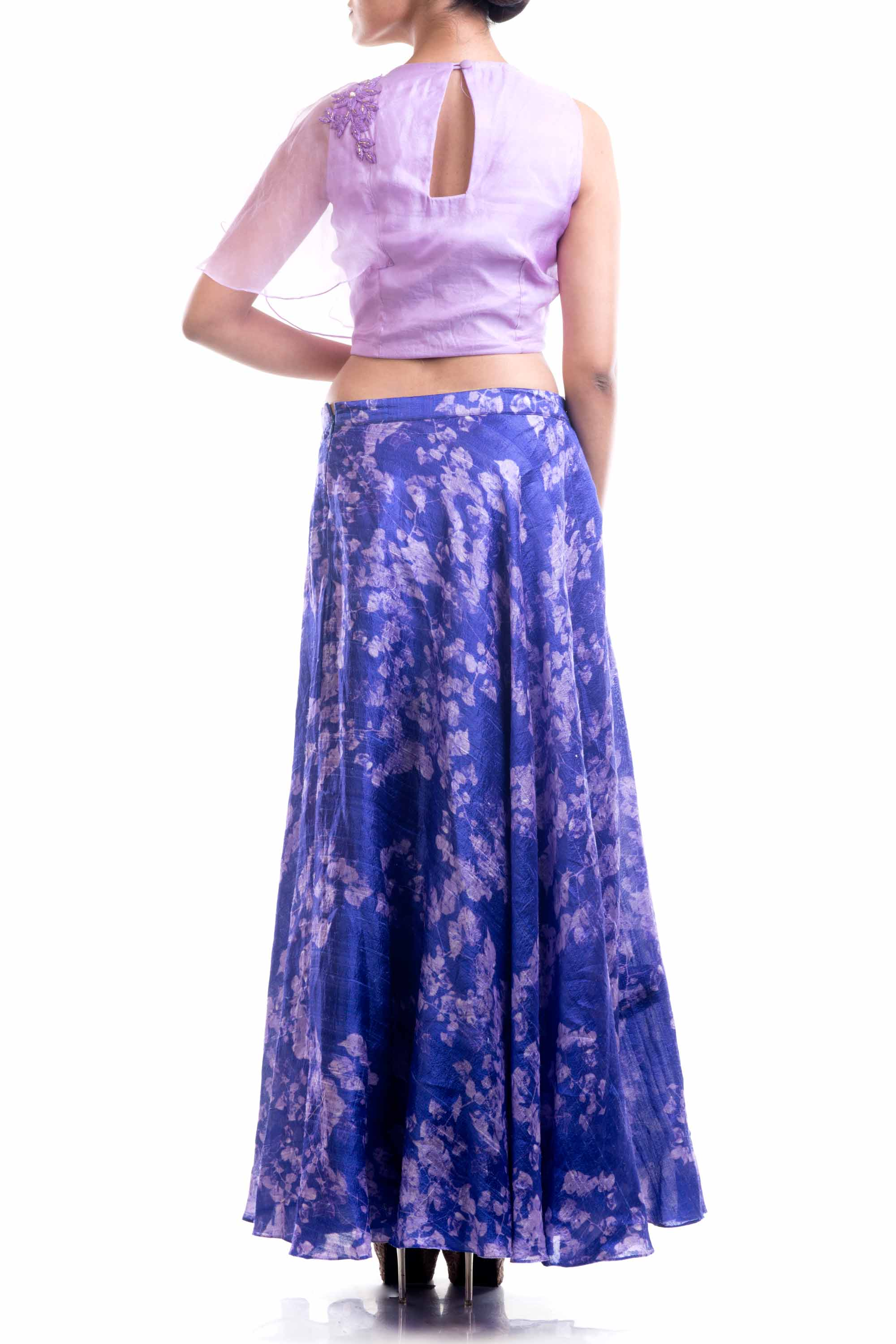 Lavender Embroidered Top & Printed Skirt Set Back