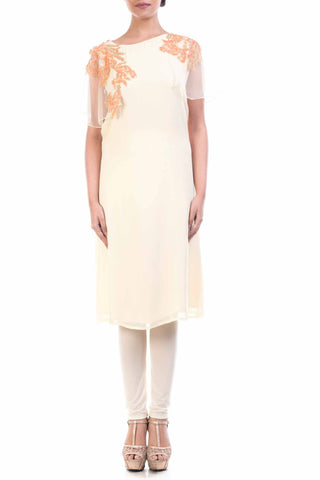 Ivory Georgette Straight Tunic Front