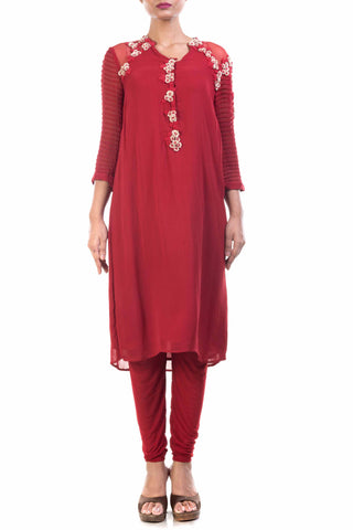 Oxblood Red Georgette Straight Tunic Front