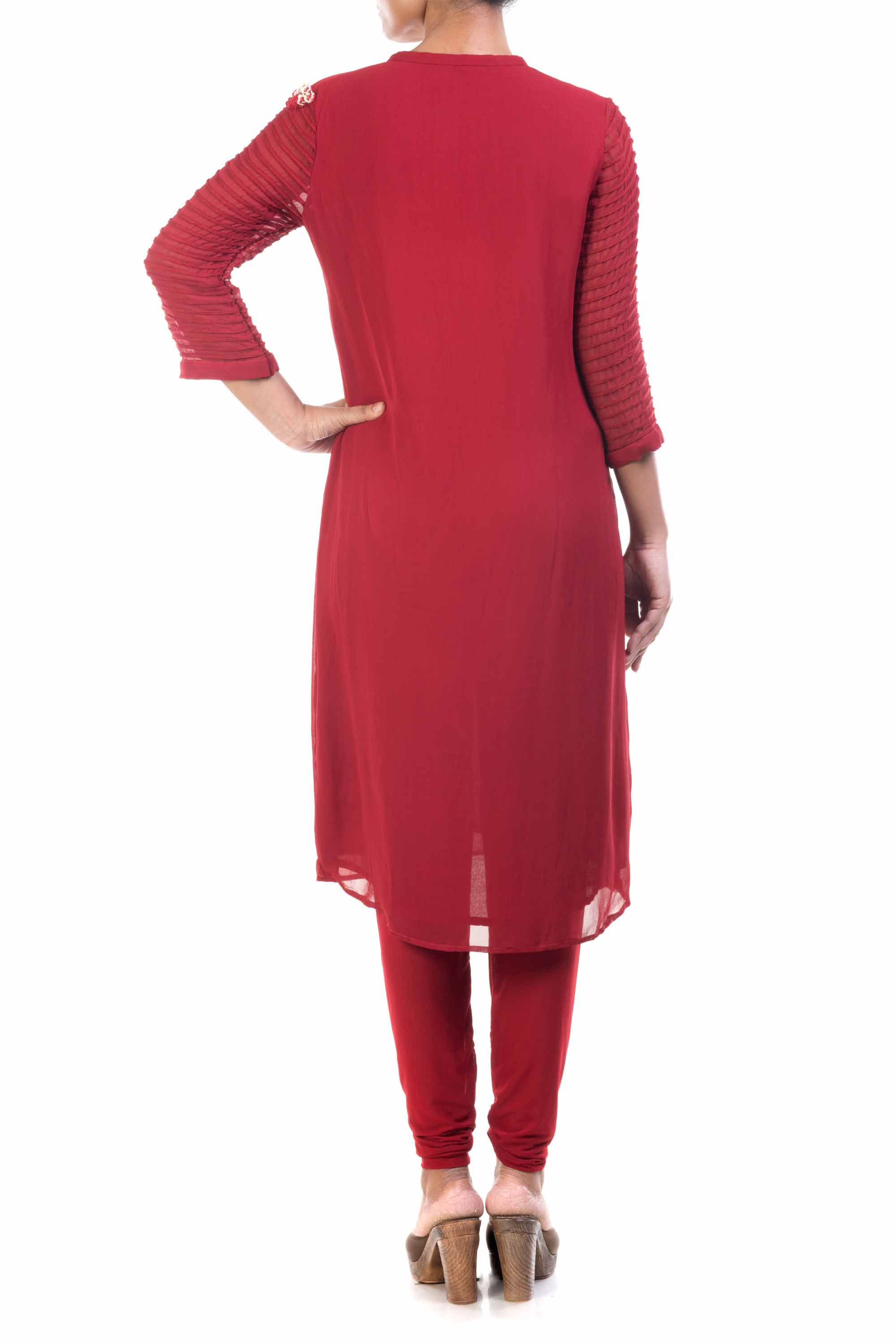 Oxblood Red Georgette Straight Tunic Back