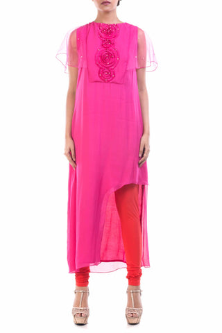 Pink Long Tunic With Net Cape Sleeves Front