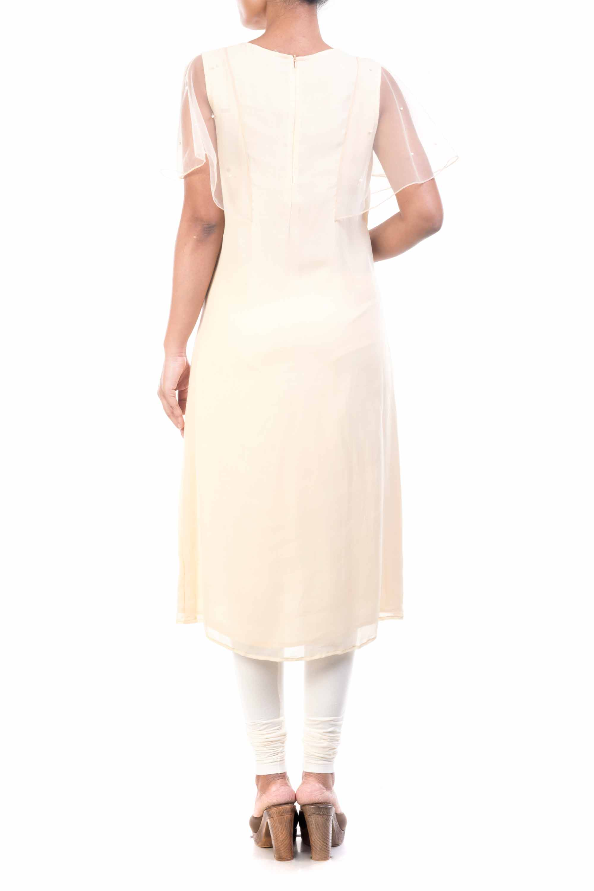 Ivory Long Tunic With Net Cape Sleeves Back