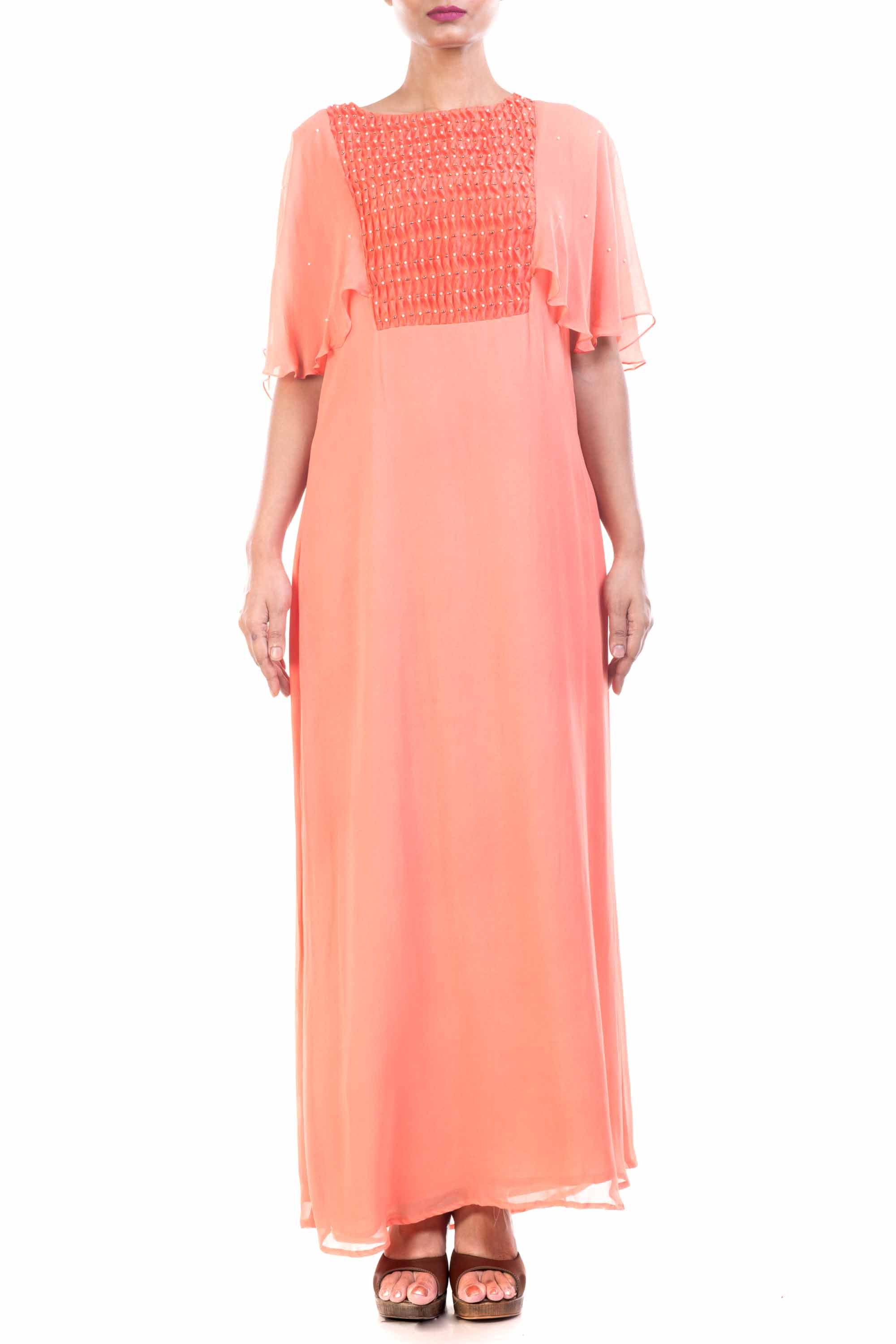 Peach Long Tunic With Cape Sleeves Front