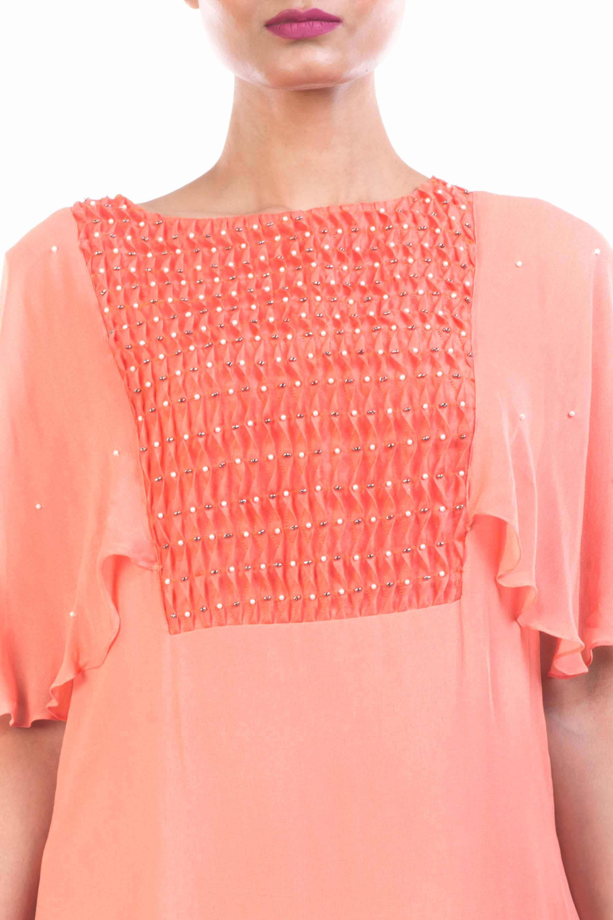 Peach Long Tunic With Cape Sleeves Closeup