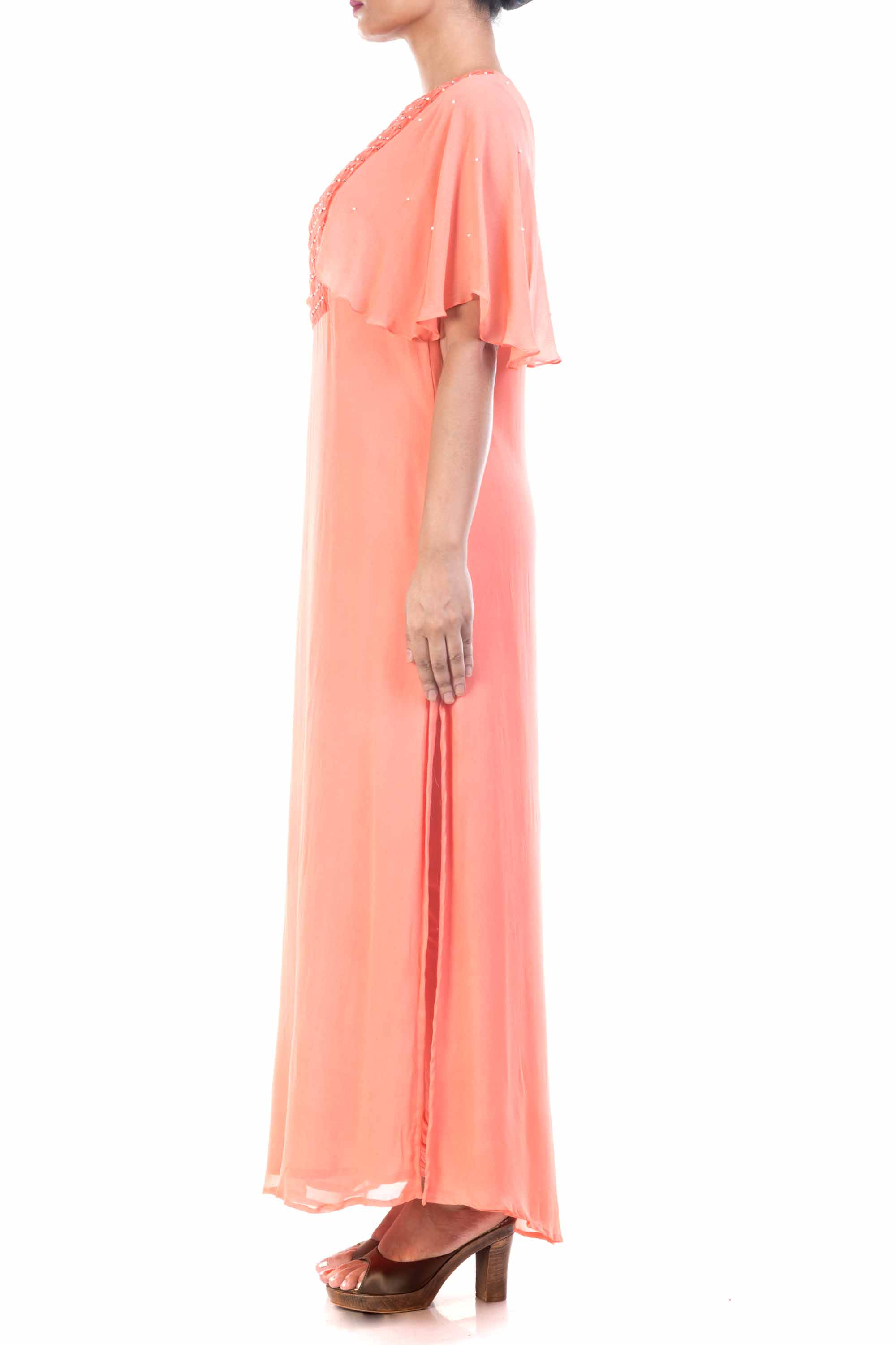 Peach Long Tunic With Cape Sleeves Side