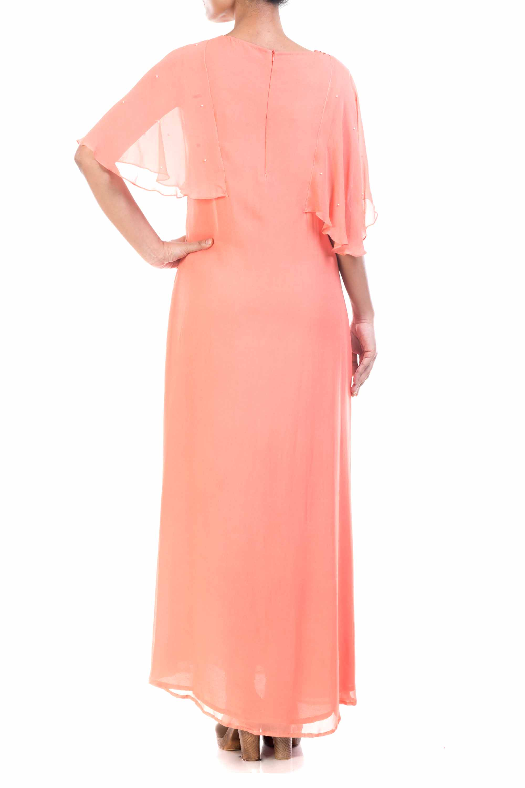 Peach Long Tunic With Cape Sleeves Back