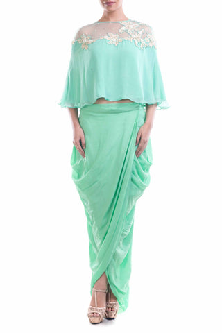 Aqua Blue Chiffon Cape With Wrap Dhoti Skirt Front