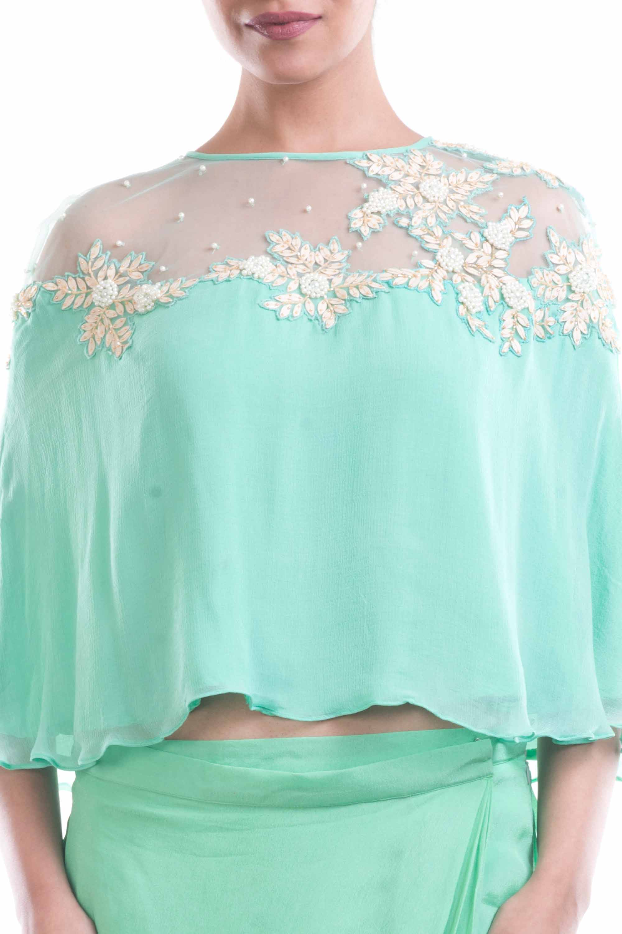 Aqua Blue Chiffon Cape With Wrap Dhoti Skirt Closeup