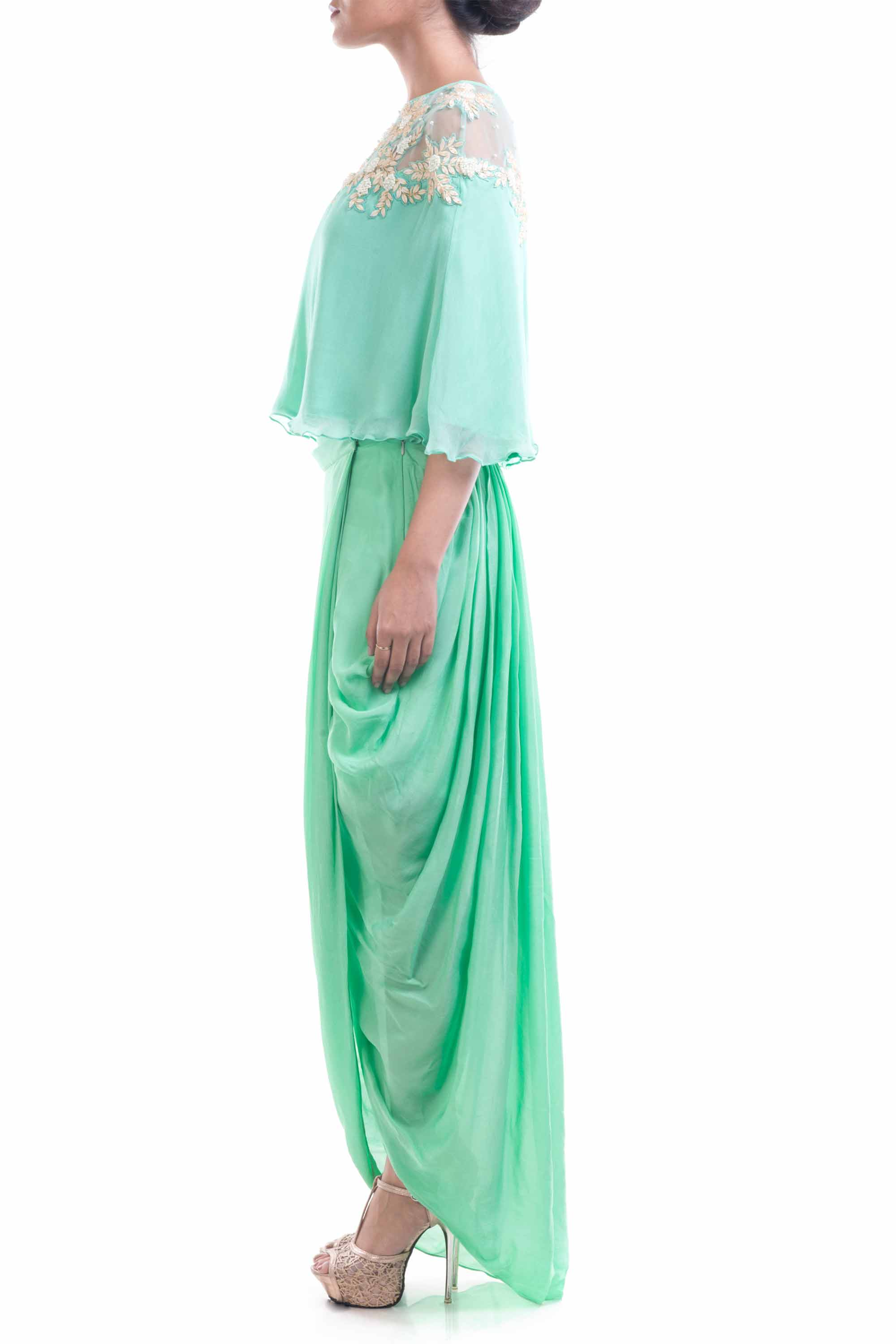 Aqua Blue Chiffon Cape With Wrap Dhoti Skirt Side