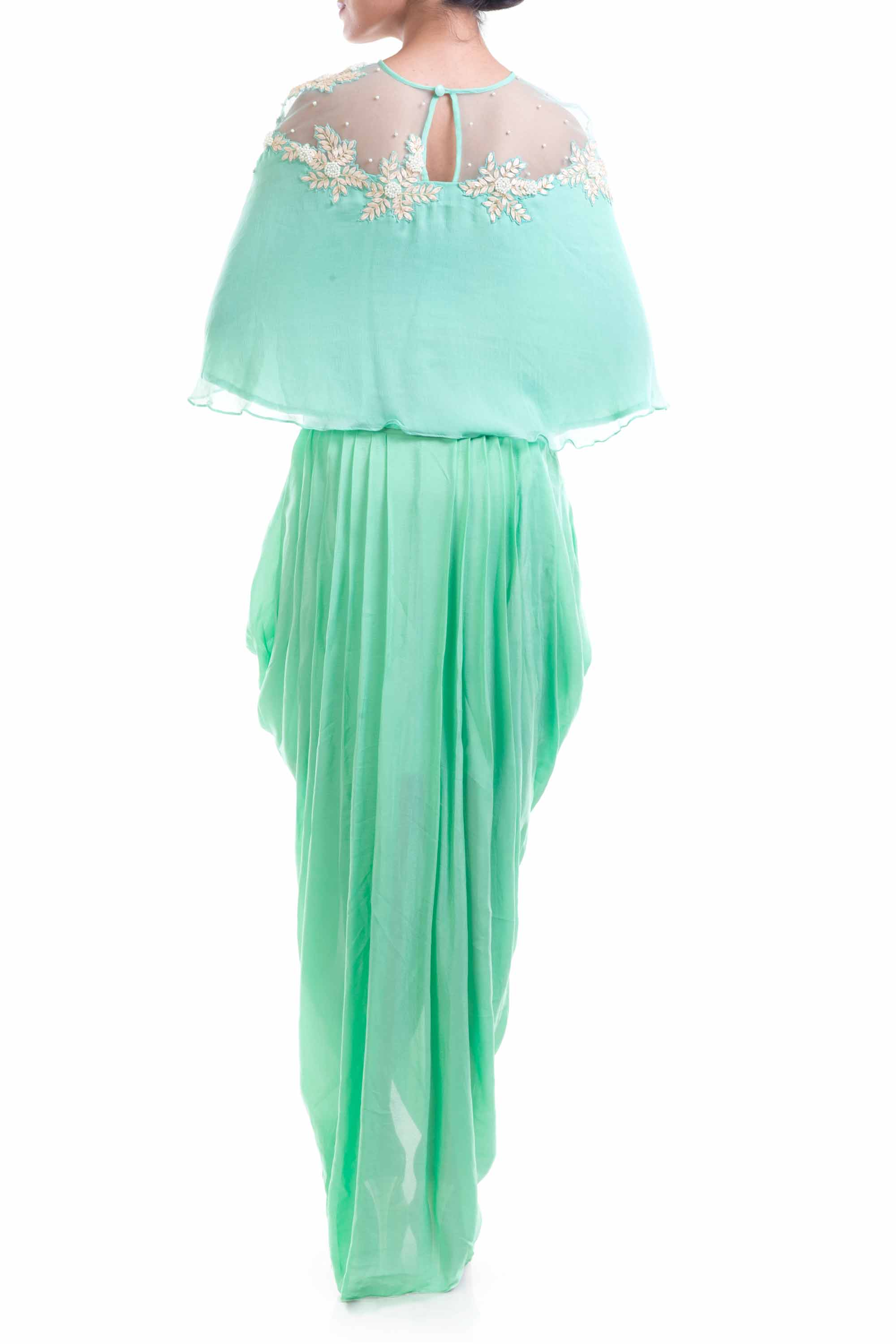Aqua Blue Chiffon Cape With Wrap Dhoti Skirt Back