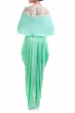 Aqua Blue Chiffon Cape With Wrap Dhoti Skirt