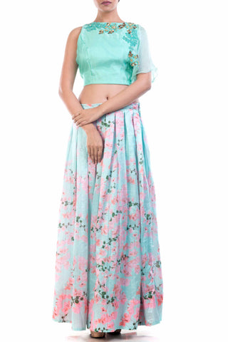 Aqua Organza Crop Top & Printed Skirt Set Front