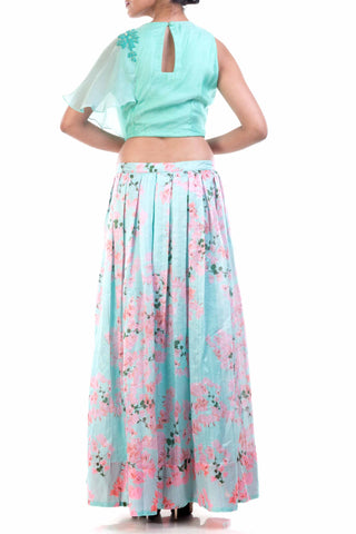 Aqua Blue Organza Crop Top & Printed Skirt Set