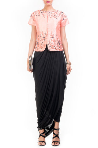 Embellished Jacket With Drape Skirt Front