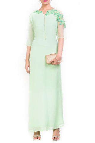 Mint Green Long Length Tunic Front