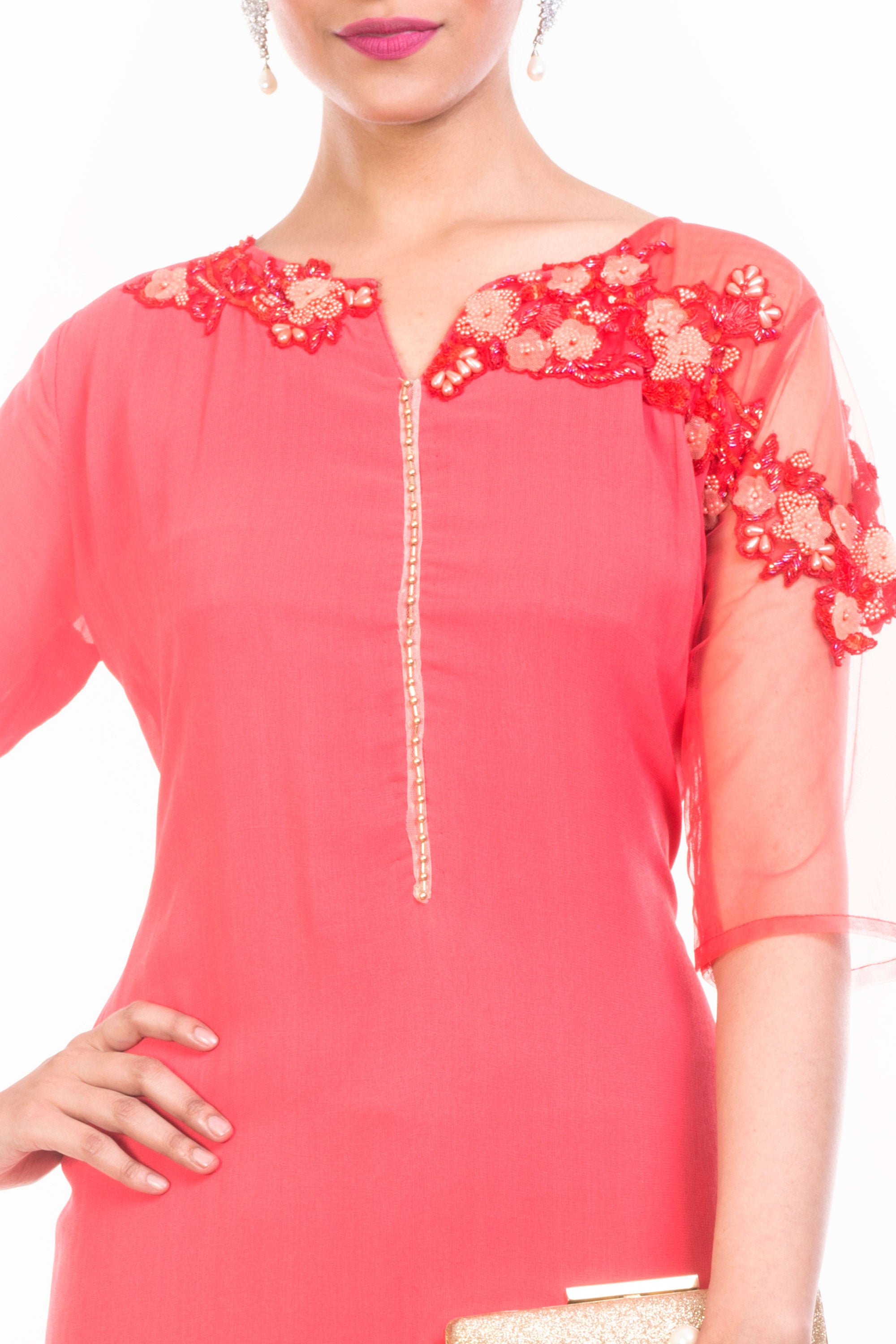 Strawberry Ice Long Length Tunic Closeup