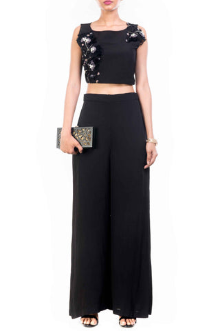 Black Feather Crop Top Palazzo Set Front