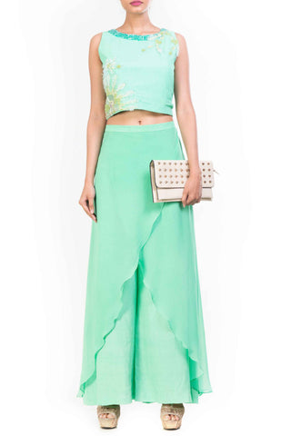 Aqua Marine Feather Crop Top Palazzo Set Front