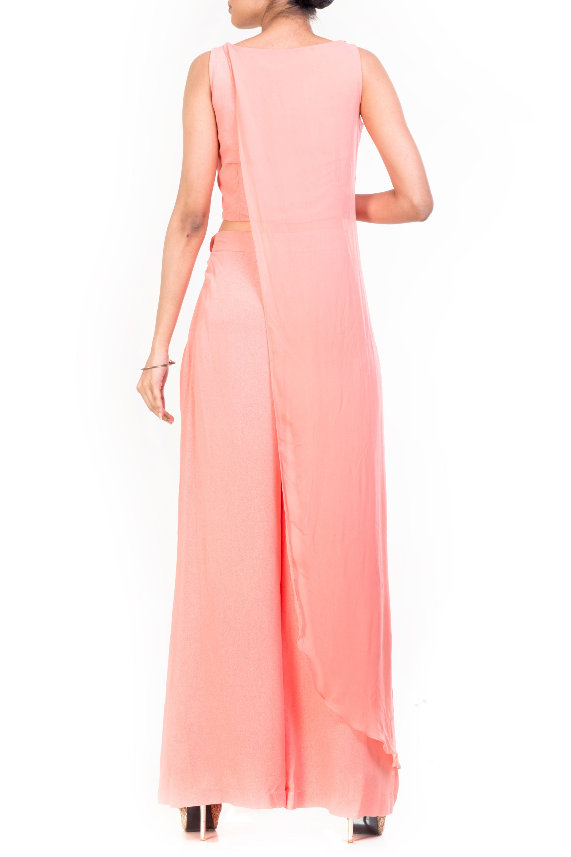 Cotton Candy Long Layered Crop Top Palazzo Set Back