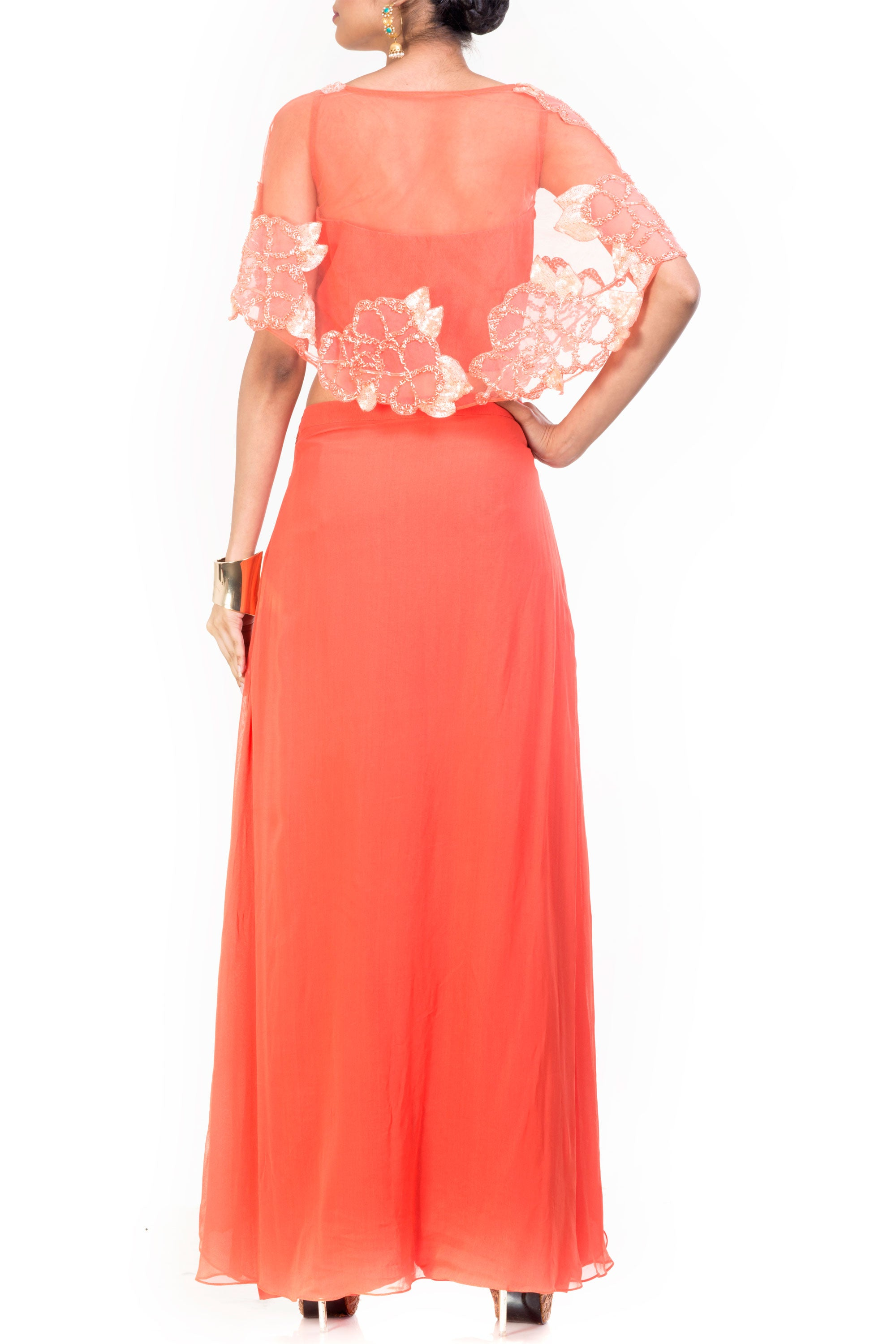 Peach Cape Croppy Palazzo Set Back