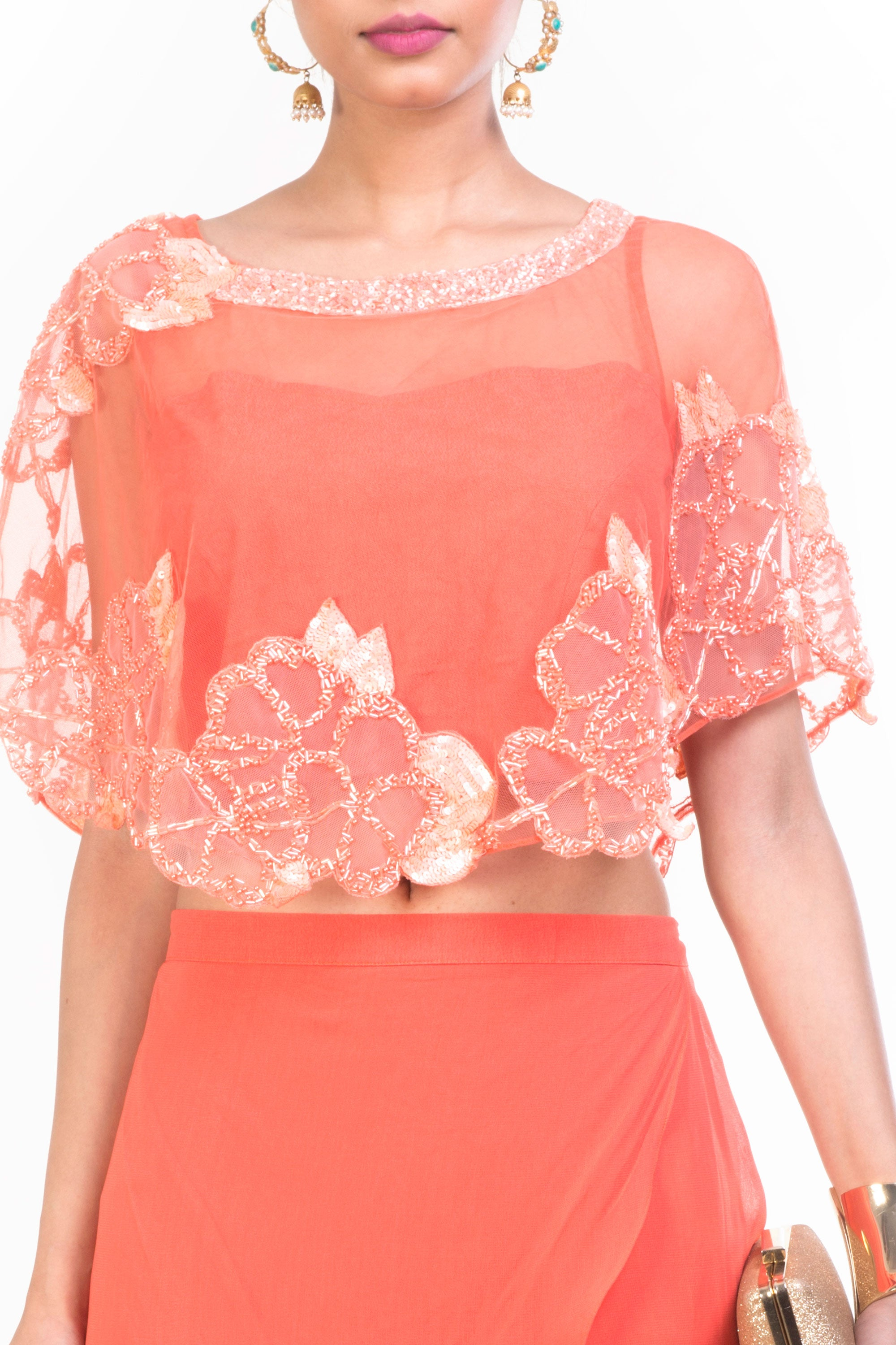 Peach Cape Croppy Palazzo Set Closeup