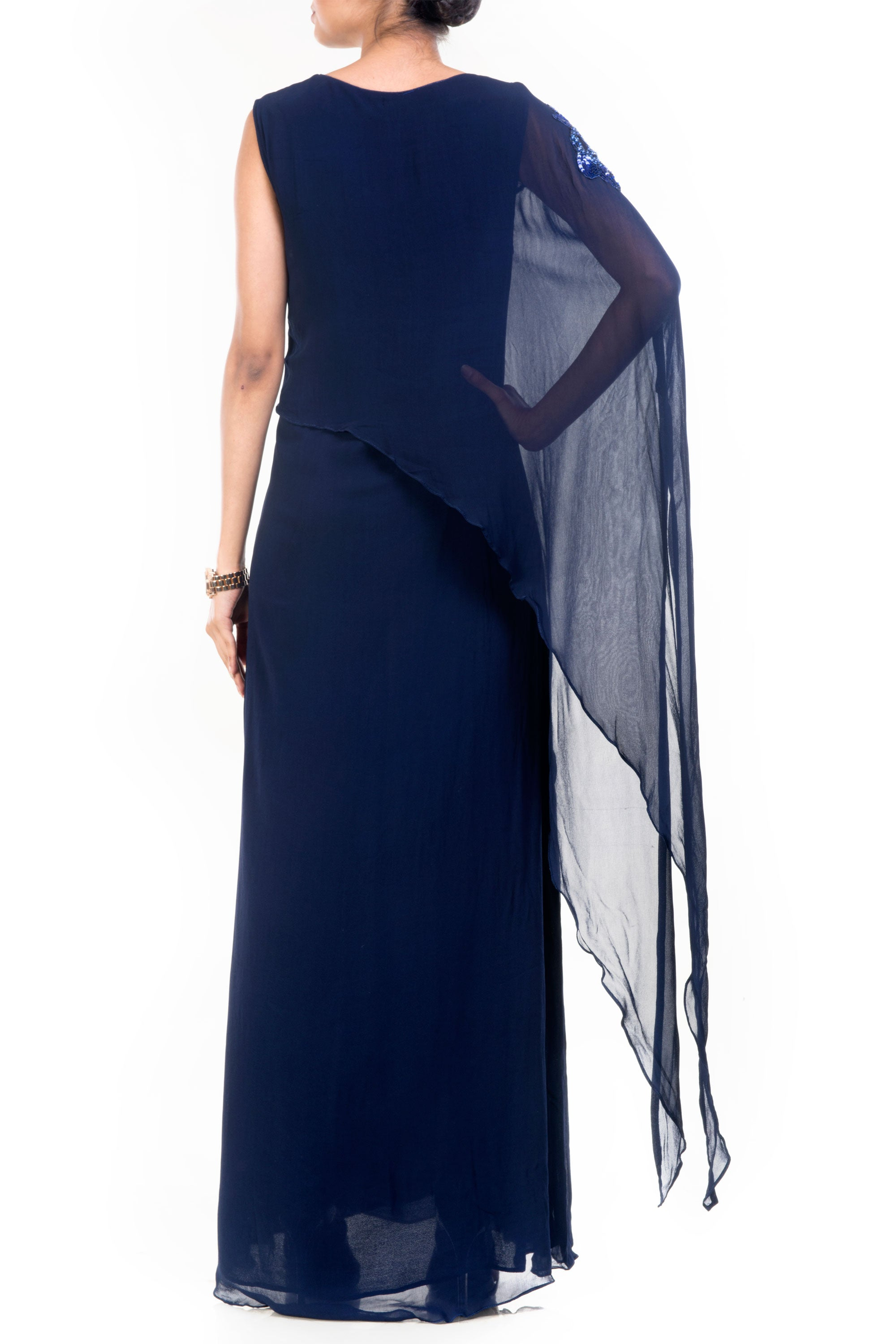 Navy Blue Long Layered Cape Tunic Back