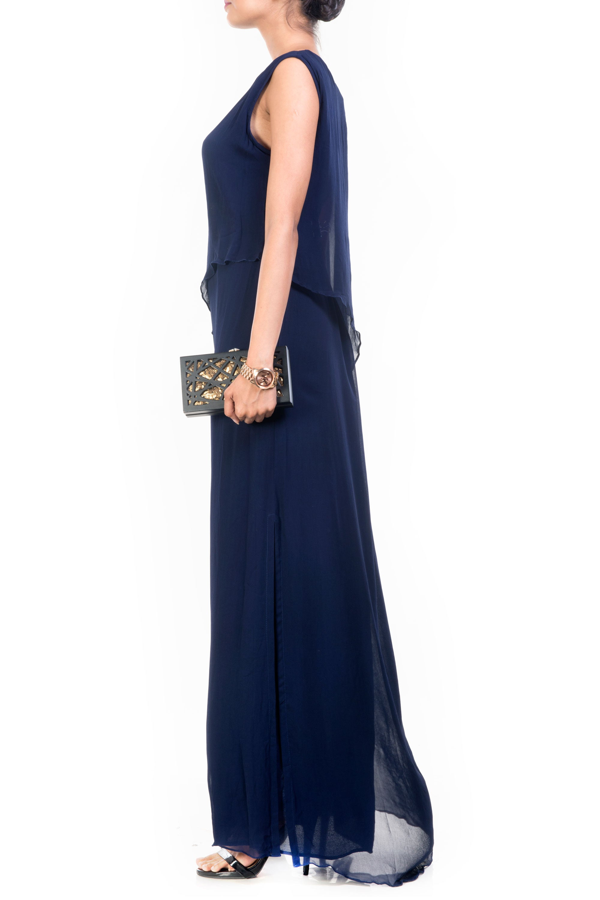 Navy Blue Long Layered Cape Tunic Side