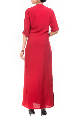 Ox Blood Red Long Length Tunic