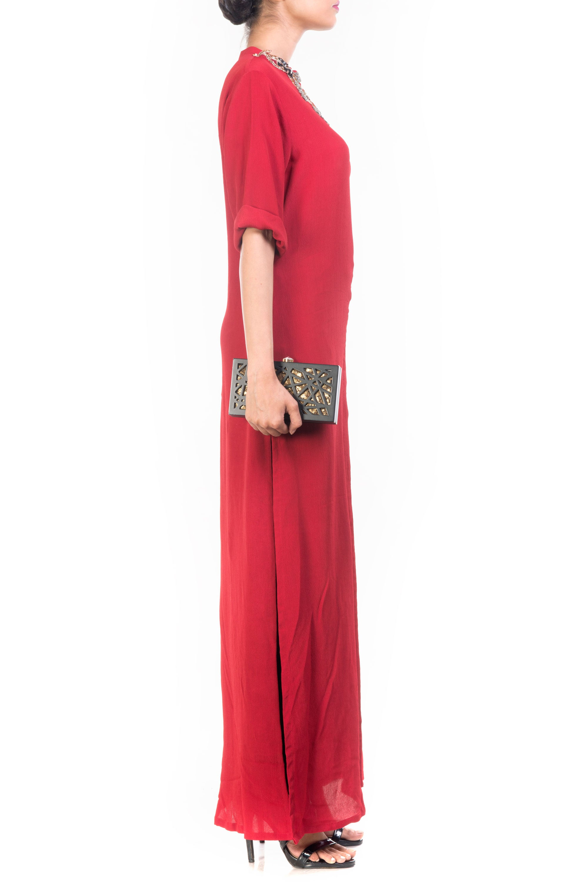 Ox Blood Long Length Tunic Side